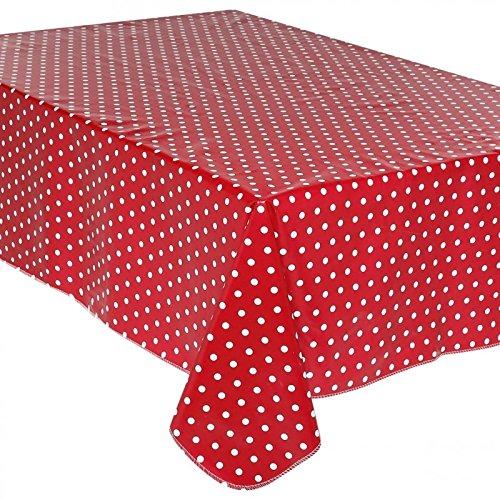 Nappe toile cirée à pois rouge 140x240cm