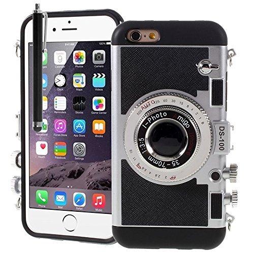 VCOMP® Camera case Coque Silicone TPU motif appreil photo élégant pour Apple iPhone 6/ 6s + mini stylet - NOIR NOIR + stylet