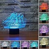 Weihnachten Geschenke 3D Leuchtet 7 bunte Farbe ändern Nachtlicht für Kinder und Jugendliche großen Schiff
