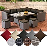 CLP Gartengarnitur SIENA | Sitzgruppe mit 8 Sitzplätzen | Gartenmöbel-Set aus Polyrattan | In verschiedenen Farben erhältlich Bezugsfarbe: Anthrazit, Rattanfarbe: Grau