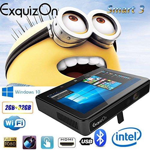 ExquizOn Smart 3 Built-in Windows 10 DLP Projector with 7