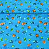 MAGAM-Stoffe ''Hugo'' Jersey-Stoff | Kinderstoff | Baumwoll-Jersey Öko-Tex Qualität | Meterware ab 50cm | QX-1-5 (1. Kleine Fische und Seesterne)