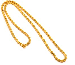 Jewar Mandi 24 inch and Ad Plane Gold Plated Chain Unisex Necklace