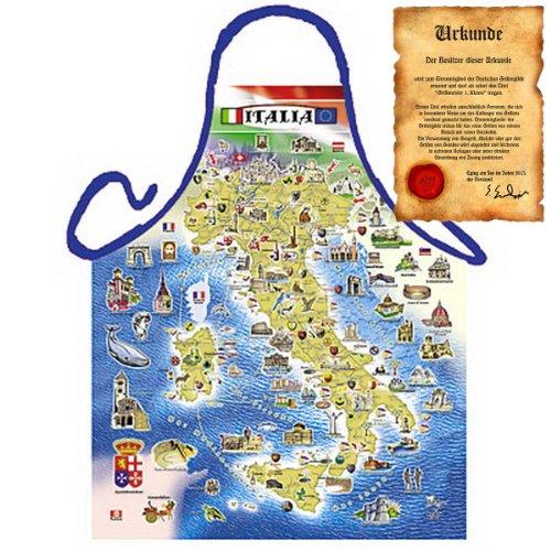 Italienisch Kochen - la Cucina Italiana Grembiule mit Schürze: Italian Map - Schürze Mediterrane Küche one Size Fb bunt mit Geschenk-Urkunde : )