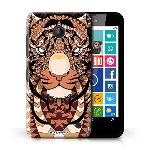 Coque en plastique pour Nokia Lumia 630 Collection Motif Animaux Aztec - Loup-Sépia Tigre-Orange