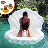 Aufblasbare Pool Luftmatratze, Riesige Pearl Shell Float Spielzeug Doppelventil Garantiert Eine Enge Verdickung, Foto Props Jakobsmuscheln Aufblasbarer Float Spielzeug für Erwachsene 59 X 55 X 55