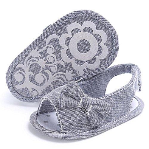 Igemy 1 Paar Neugeboren Mädchen Kleinkind Baby Soft Sole Bowknot Krippe Prewalker Schuhe Grau
