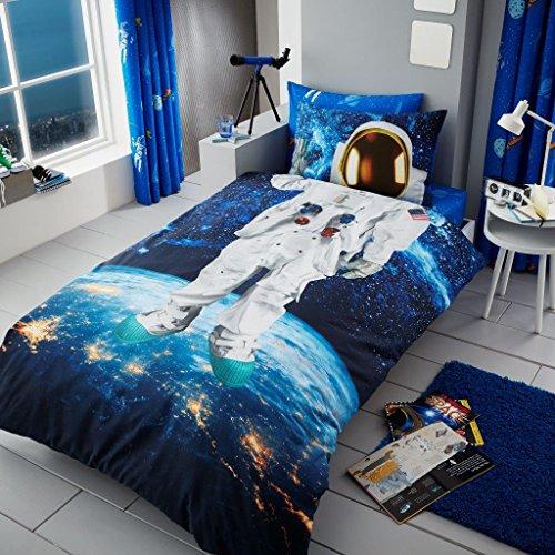 BeddingHome 3D Bettwäscheset für Kinder, Jungen, Mädchen, Rotary Disney Fußball-Motiv, mit passendem Spannbettlaken, Astronaut, Complete Set