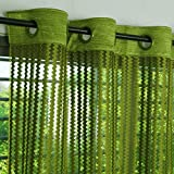Story@Home Fancy Sparkling Sheer Strip Premium String Beads Hanging Net 2 Piece Polyester Door Curtain Set - 7ft, Parrot Green