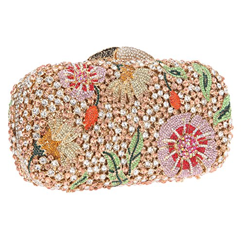 Bonjanvye Bling Studded Flower Evening Purse Cocktail Crystal Evening Clutch Bags Rose Gold Rose gold