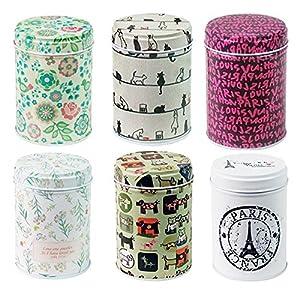 Xshelley rétro double Coque Home de cuisine Boîtes de rangement coloré Moules ronds Moules à thé Lot de 6