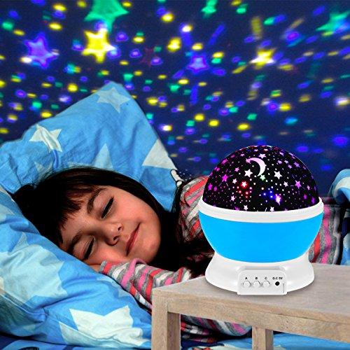 Sternenhimmel Projektor , Veotech Stern Projektor Nachtlicht 360 Grade Drehen 4 LED Wulst USB / Batterie Betrieben bestes Geschenk LED Night Light Projector Lamp für Zuhause Schlafzimmer Kinderzimmer Hochzeit Geburtstag Parties - blau Decke Sterne Nachtlicht