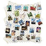 Foto Hängende Bilderrahmen Anzeige IMMIGOO Fotorahmen Collage DIY Fischernetz mit 10 Nagel 40 Holzklammern Wanddekoration für Haus Home Zimmer Geschenk Geburtstag Hochzeit Weihnachten