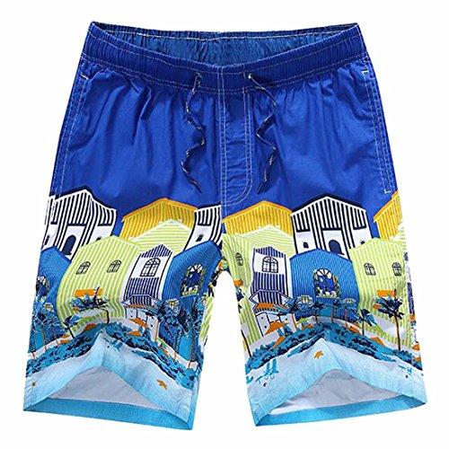 QIYUN.Z Mens Jungen Sommer Casual Printing Badehose Surfbrett Strand Shorts K12-Dunkelblau