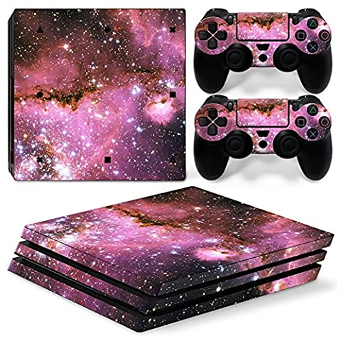 Morbuy PS4 Pro Skin Vinyl Autocollant Sticker Decal pour Playstation 4 Pro console and 2 Dualshock Manette Set (Sky Pink)