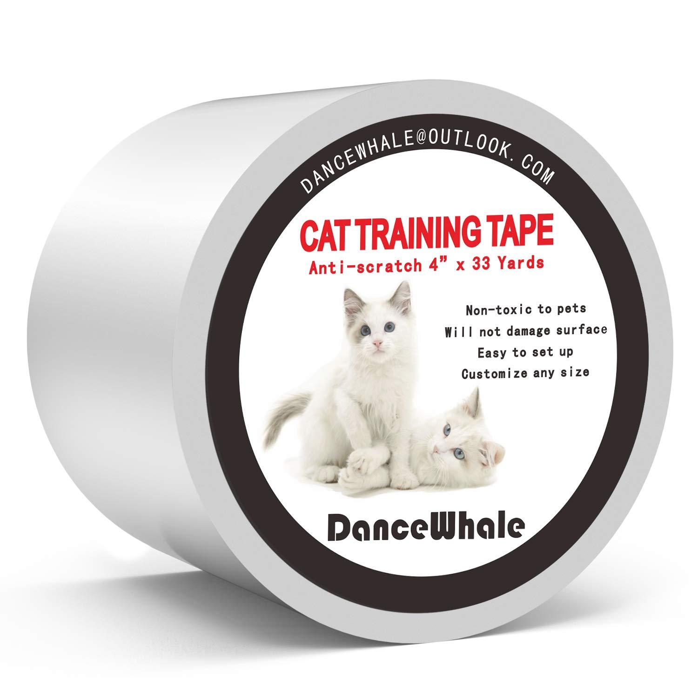 DanceWhale Cinta de Entrenamiento Anti Arañazos para Gatos, 10 CM x 30 M Cinta Disuasoria Transparente para Rascar Gatos, Protector de Muebles para Sofá, Alfombra, Puertas