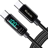 USB C-kabel, mcdodo 100 W 5 A PD QC 4.0 snabbladdningskabel USB C till USB C-kabel 1,2 m, visuell display, kompatibel med Pad