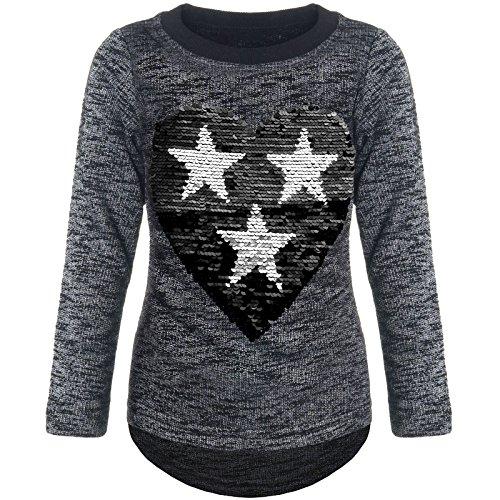 BEZLIT Mädchen Pullover Pulli Wende-Pailletten Sweatshirt 21517 Schwarz Größe 128