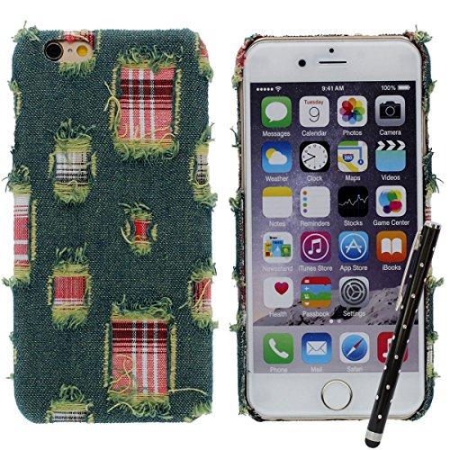 """Hybride Matériel Jeans Tissu et Dur Plastique iPhone 6S Plus Coque Case, étui pour Apple iPhone 6 Plus 5.5"""" Très Mince et Poids Léger X 1 Stylet Vert"""