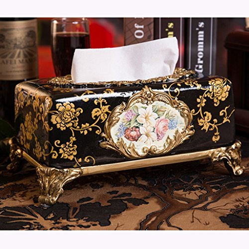 L&Y tissue box Tissue Box Retro Resin Pastoral Land-Art-Serviette-Kasten ( Farbe : Schwarz ) (Keramik Tissue Box Cover)