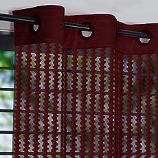 Exporthub 2 Piece Fancy Sparkling Sheer Strip Premium Net Curtains - Maroon