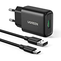UGREEN Caricabatterie USB 18W con Cavo USB C Caricatore Quick Charge 3.0 5V 3A Compatible with Galaxy S20 S10 S9 S8 A50…