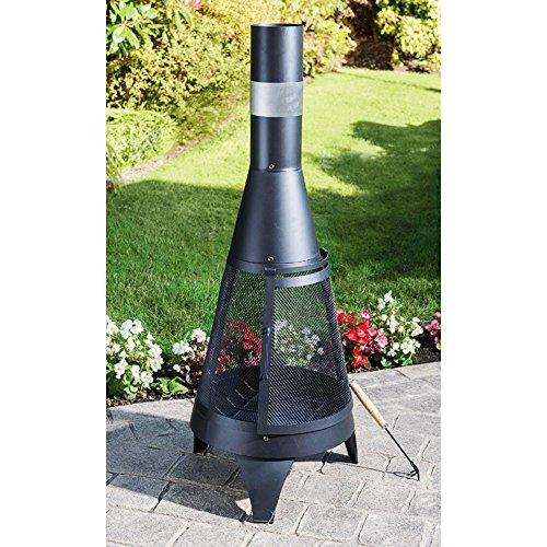 Terrassen-Kamin aus Stahl Ø 45 x 120 cm Terrassenofen Gartenkamin Feuerstelle Kamin