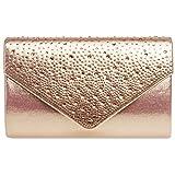Caspar TA423 elegante Damen Envelope Clutch Tasche Abendtasche mit Strass Dekor, Größe:One Size, Farbe:roségold