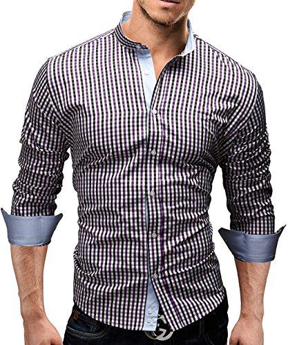 Merish Hemd Slim Fit 4 Farben Größen S-XXL Herren Modell 38 Lila