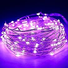 Guirnalda de 100luces LED, 10m, alambre de cobre, funciona con pila, impermeable, tira de luces decorativas para fiestas, Navidad o bodas, de Kany, morado