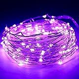 Kany 10m 100 LED lumières de fées fil d'argent Lampes LED, batterie guirlande étoilée imperméable à l'eau, Decor LED pour Noël saisonnier, mariage, vacances, vacances (Violet)