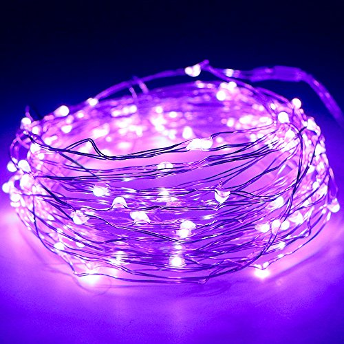 raht, Kany LED Lichterkette 10 Meter 100 LEDs Batteriebetrieben Kupferdraht Wasserdicht, Kupterdraht Sternenlicht außen und innen für Weihnachten, Hochzeit, Party mit battery Box (lila) (Außen Haus Dekor)