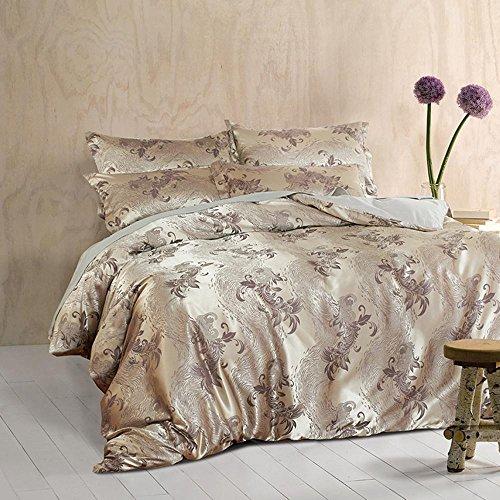 WYFC Baumwolle Satin Jacquard-Programme 4 Stück Baumwolle Bettwäsche Set 1 Stück Bettbezug 2 Stück Shams 1 Stück Flat Sheet Queen-Size , D (2 Shams-bettwäsche-set)