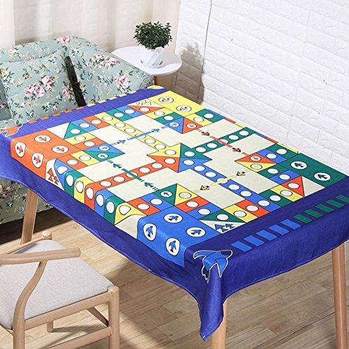 Nordic coloré couture dessin animé motif nappes naturel lin 3D Digital impression Table tissu maison décoration tissu couverture serviette , 140*160cm
