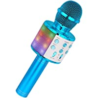 Wireless Karaoke Microphone, Ankuka Bluetooth Dancing LED Lights Handheld Portable Speaker Karaoke Machine, Home KTV Player with Record Function, Compatible with Android & iOS Devices, Blue