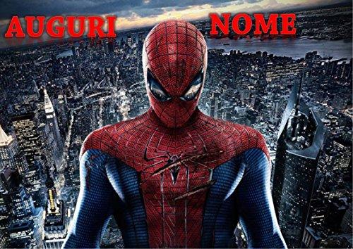Spiderman Home Coming Herren Spinne Waffel in Ostia für Kuchen personalisierbar-Kit N ° 5cdc- (1Waffel in Ostia Abmessungen Folio A4210× 297mm)