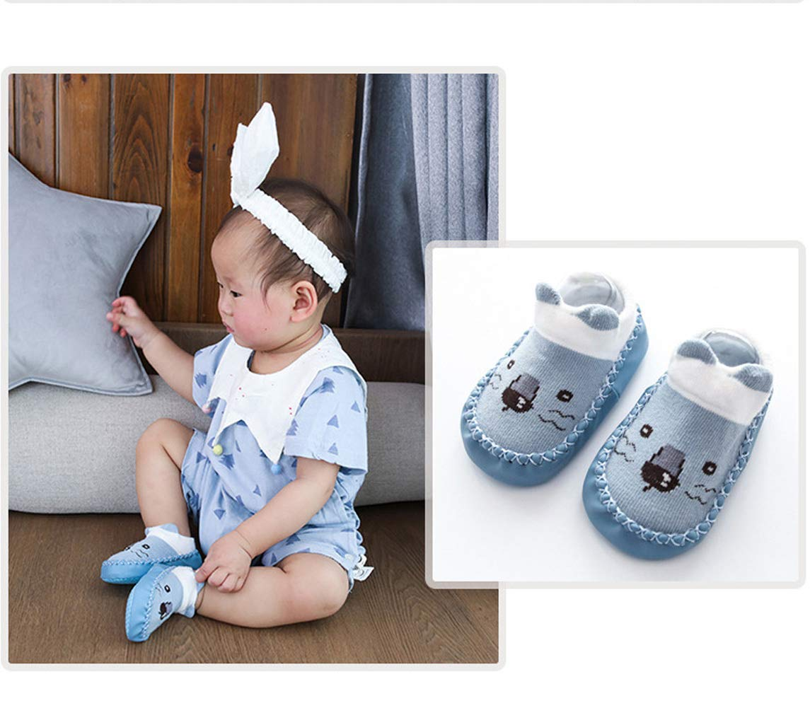 Happy Cherry 3Pcs Calcetines Prewalker para Recien Nacido Antideslizante Zapatillas de Piso Estampado Dibujo Animado… 2