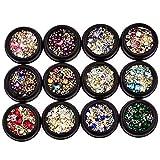 12pcs misto Nail Art Decor accessori colorati Diamonds Strass cristalli Metal Studs Perle gemme Per chiodo di DIY decorazione di arte del manicure Accessori