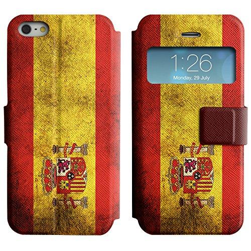 Graphic4You Vintage Uralt Flagge Von Kroatien Kroatisch Design Leder Schützende Display-Klappe Brieftasche Hülle Case Tasche Schutzhülle für Apple iPhone 5 und 5S Spanien Spanisch