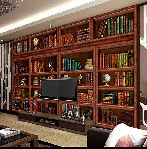 BIZHIGE Soggiorno Libreria Scaffale 3D Sfondo Grande Murale Affresco Soggiorno Camera da Letto Studio Carta da Parati 3D, 100 × 70 Cm