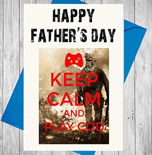 Tarjeta de felicitación para el día del padre, Keep Calm And Play bacalao