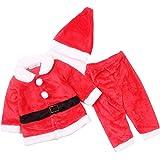 Lee Little Angel Navidad Franela Manga Larga Hermoso bebé niños Dress up Santa Traje de 3 Piezas Conjunto (1 Sombrero, 1 Chaq