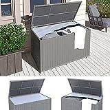 XXL Kissenbox wasserdicht Polyrattan 950L Anthrazit Auflagenbox Gartenbox Gartentruhe Aufbewahrungsbox - 3
