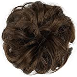 Cheveux synthétiques chignons élastique de cheveux Chouchou Extensions de cheveux frisés ruban Queue de cheval Cheveux Lots Bicolore dégradé Cheveux raides Chignon pour femme Beauté Mariage
