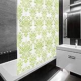 Design Duschrollo mit Ornamenten | viele Größen | schnelltrocknend | Deckenbefestigung mit Halbkassette | halbtransparent, Muster grün | 100x240cm (BxL)