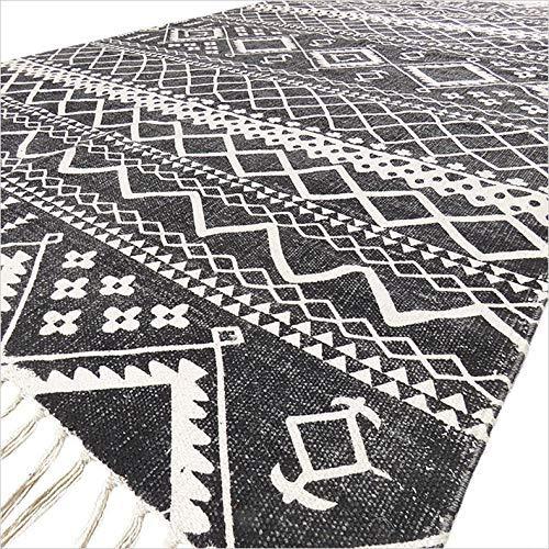 Eyes Of India - 4 X 6 ft Baumwolle Schwarz Blockdruck Bereich Akzent Dhurrie Teppich Flach zu Weben Gewebt Boho Unkonventionell (Schwarz-teppiche, 4 6 X)