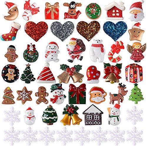 Vinfutur 50 pz mini decorazione natalizia resina ornamenti decorativi natale abbellimenti diy artigianato