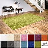 Shaggy-Teppich | Flauschige Hochflor Teppiche für Wohnzimmer Küche Flur Schlafzimmer oder Kinderzimmer | Einfarbig, schadstoffgeprüft, allergikergeeignet (Grün, 150 x 150 cm quadratisch)