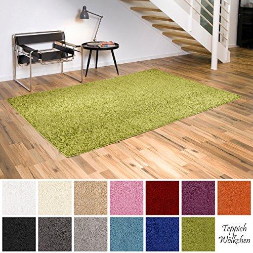 Teppich Wölkchen Shaggy-Teppich | Flauschige Hochflor Teppiche für Wohnzimmer Küche Flur Schlafzimmer oder Kinderzimmer | Einfarbig (Grün - 80 x 150 cm) - Grüner Läufer Teppich
