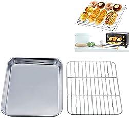 GEZICHTA Antihaft Backblech mit Rack Set, Mini Backblech Backblech Backblech Pfanne aus Edelstahl mit Kühlgitter für Küche BBQ, gesund, ungiftig, Spiegel, leicht zu reinigen